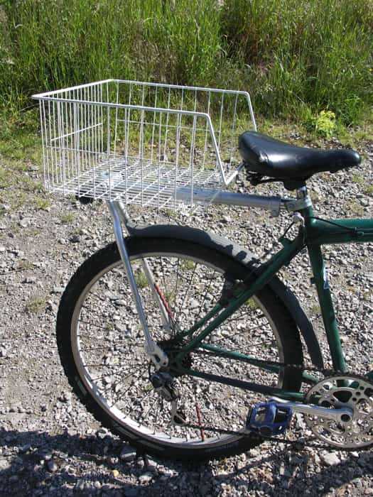 Rear Bike Passenger Seat side view with the carrier basket fitted