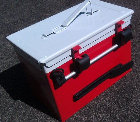 red and white Ammo Can Bike Cooler