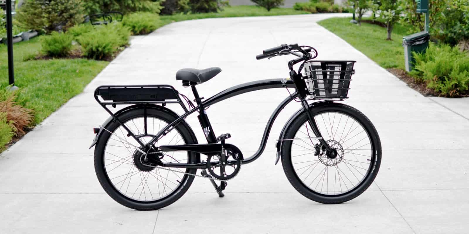 stylish black cruiser bike with basket
