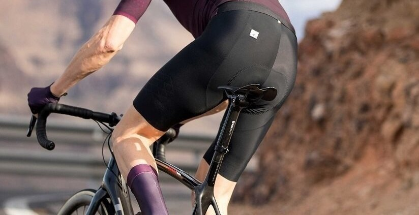 Pair of Black Bike Shorts on Cyclist