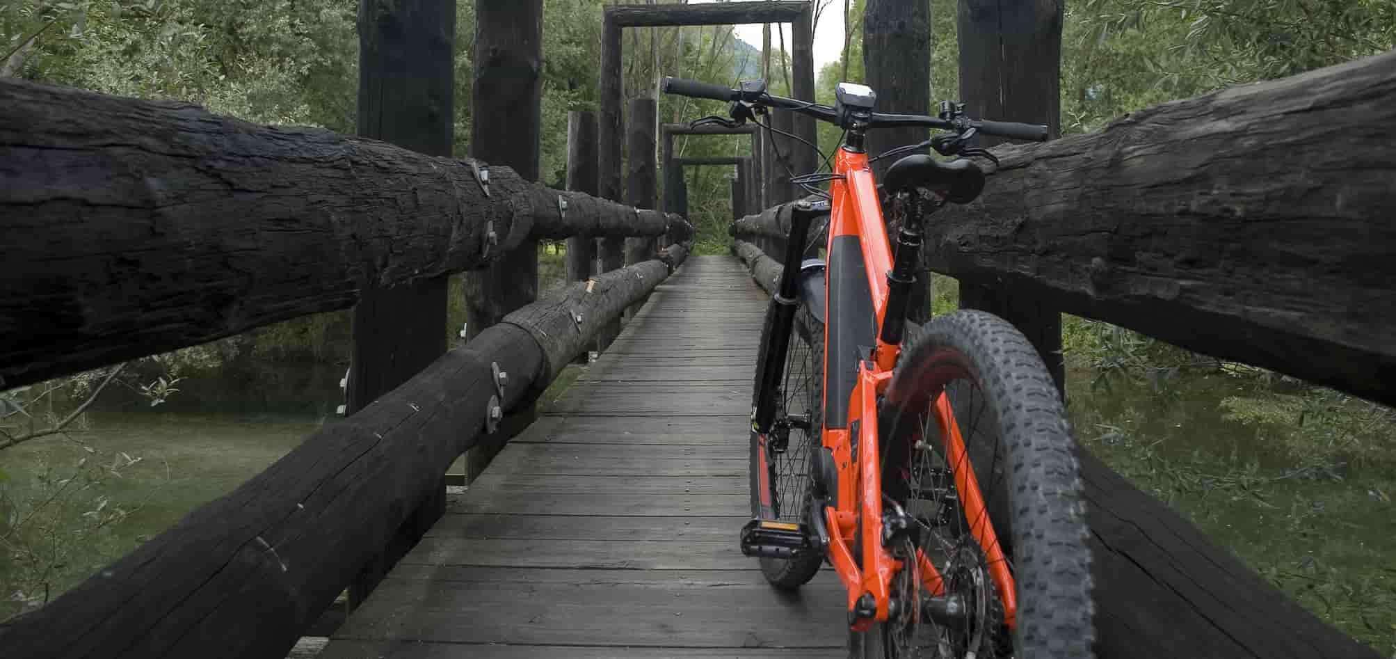 hybrid bike on the bridge
