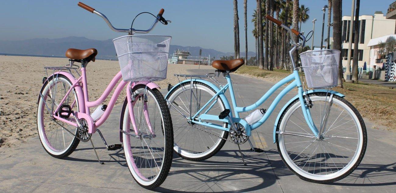 pink and blue cruiser bikes
