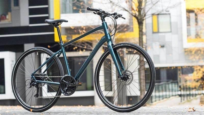 A Sleek Green Hybrid Bike
