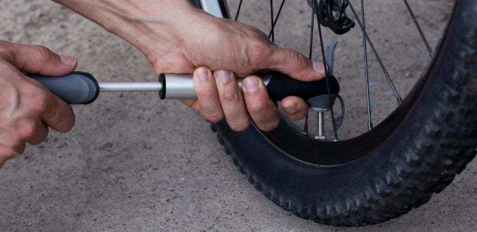 Pumping Mountain Bike Tire