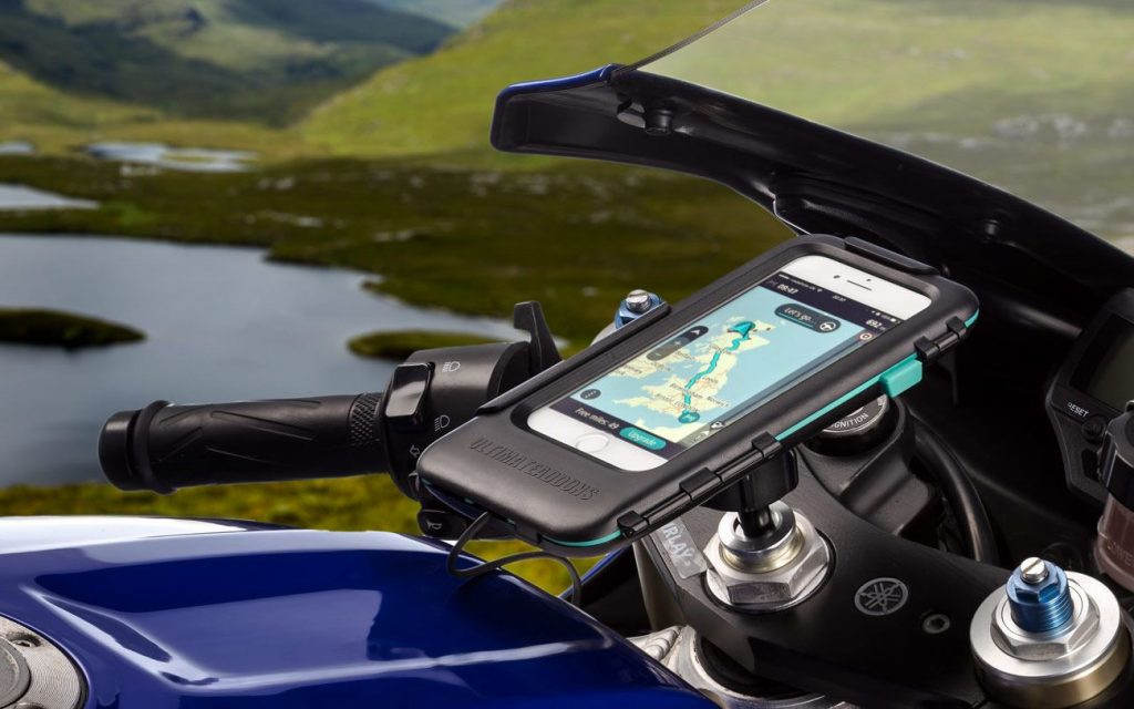 phone mounted on a motorcycle