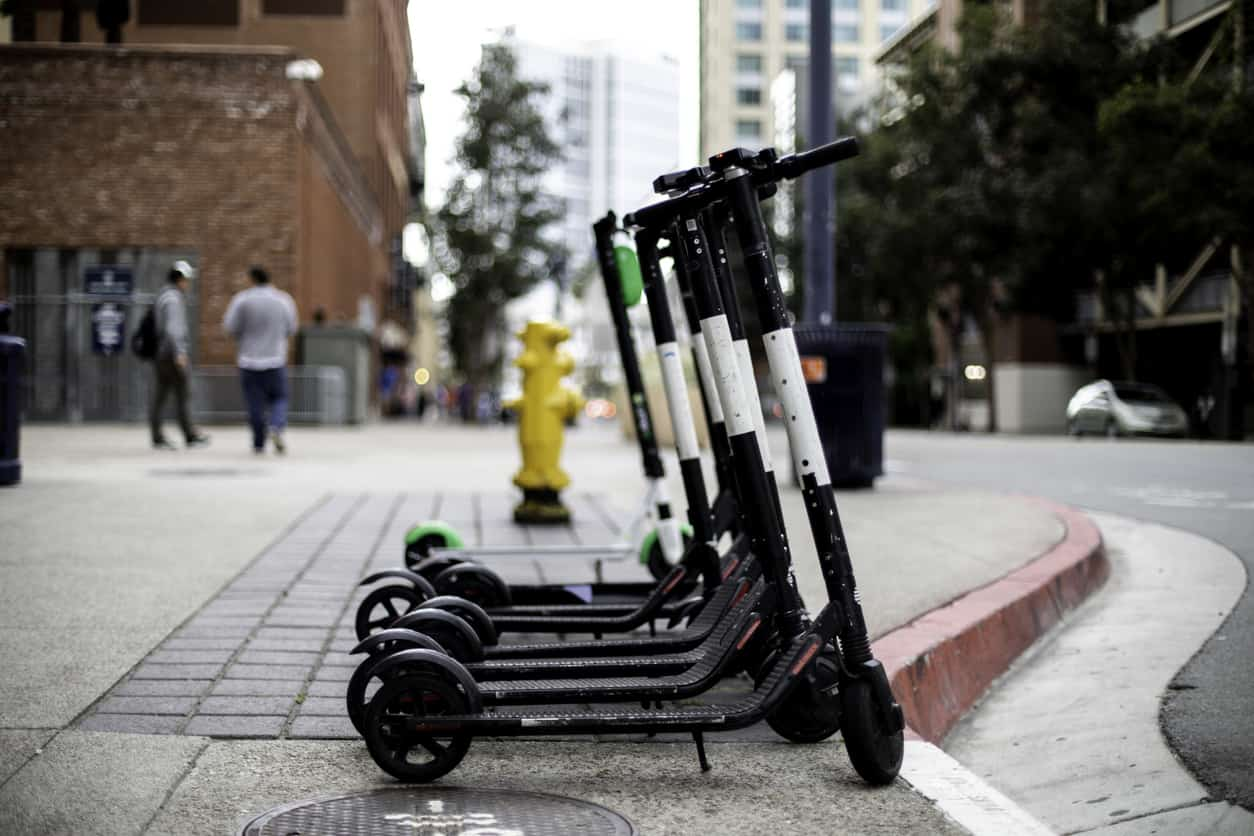 scooters parked outside
