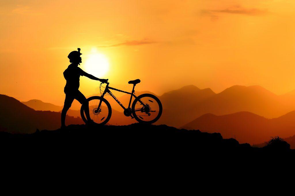 riding a bike uphill