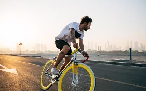 man biking